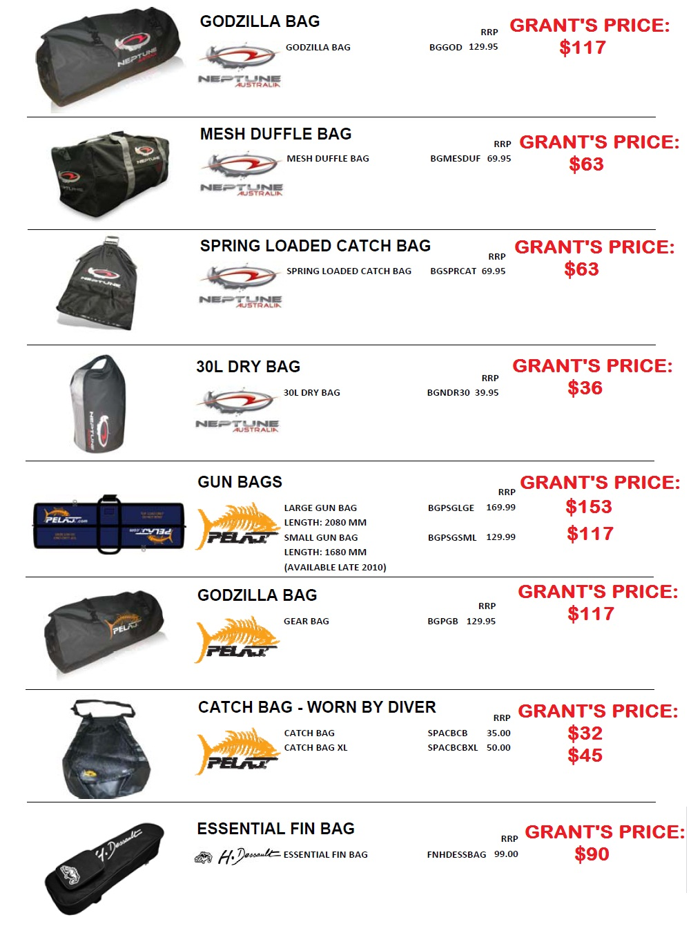 GEAR AND FIN BAGS